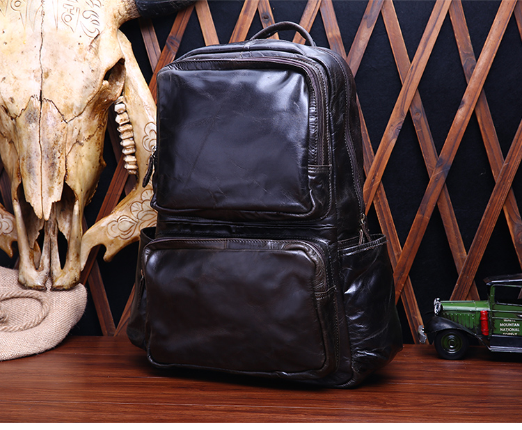 Free shipping Genuine leather backpack real leather backpack  man's backpack black and coffee color