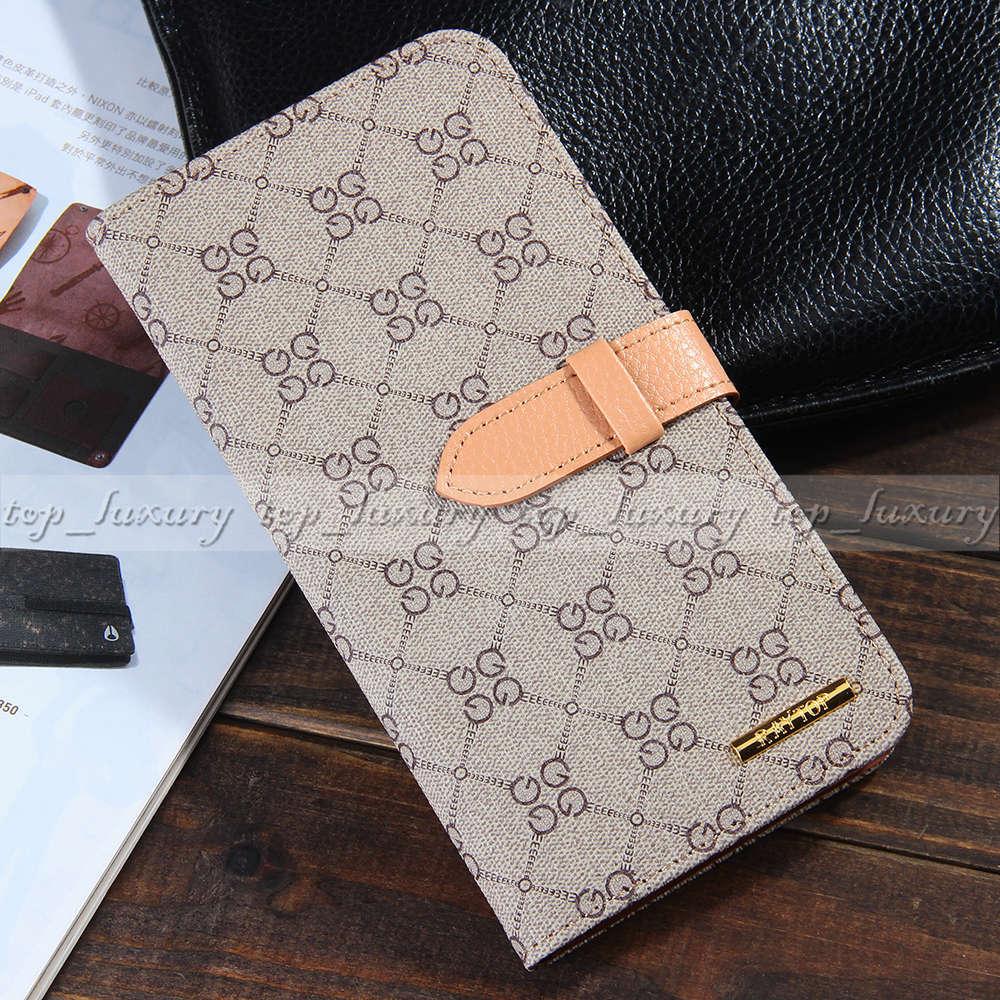 Luxury Designer GG Logo Leather Wallet Cases for Apple