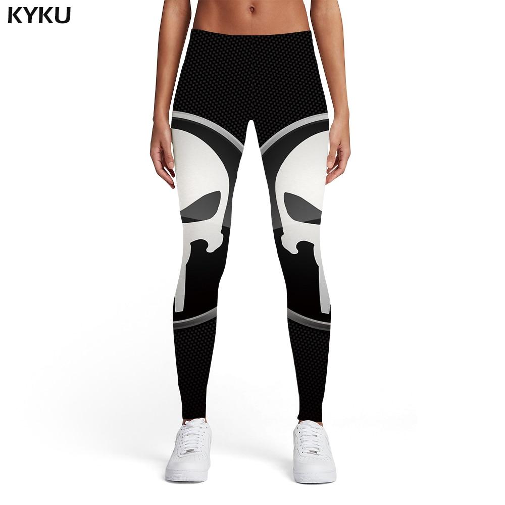 KYKU Brand Skull Leggings Women Punisher Sport Black Leggins Punk Ladies Graffiti Trousers Womens Leggings Pants Casual Jeggins