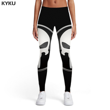 KYKU Brand Skull Leggings Women Punisher Sport Black Leggins Punk Ladies Graffiti Trousers Womens Pants Casual Jeggins