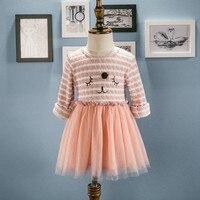 Fille Rose Bleu Rayé Robe Manches Longues O-cou T-shirt forme Dentelle tutu robes Tulle pour l'âge 2 3 4 5 6 Ans Petits Enfants marque