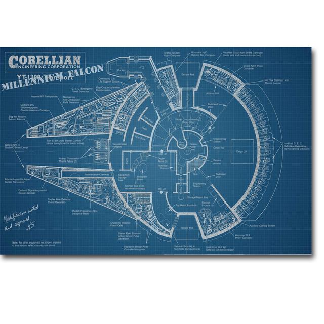 Star Wars Millennium Falcon Blueprint Art Silk Poster Print