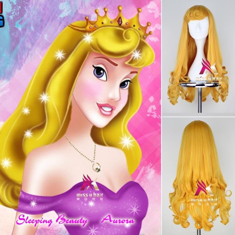Movie Sleeping Beauty Anime For Aurora Princess 75cm Long Yellow Blonde Curly Celebrity Cosplay Wig+Wig Cap