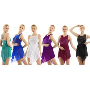 Image 2 - Robe de Ballet pour femmes adultes, réservoir avec paillettes, maille asymétrique, croisé dans le dos, léopards pour femmes, robe de danse pour le Ballet