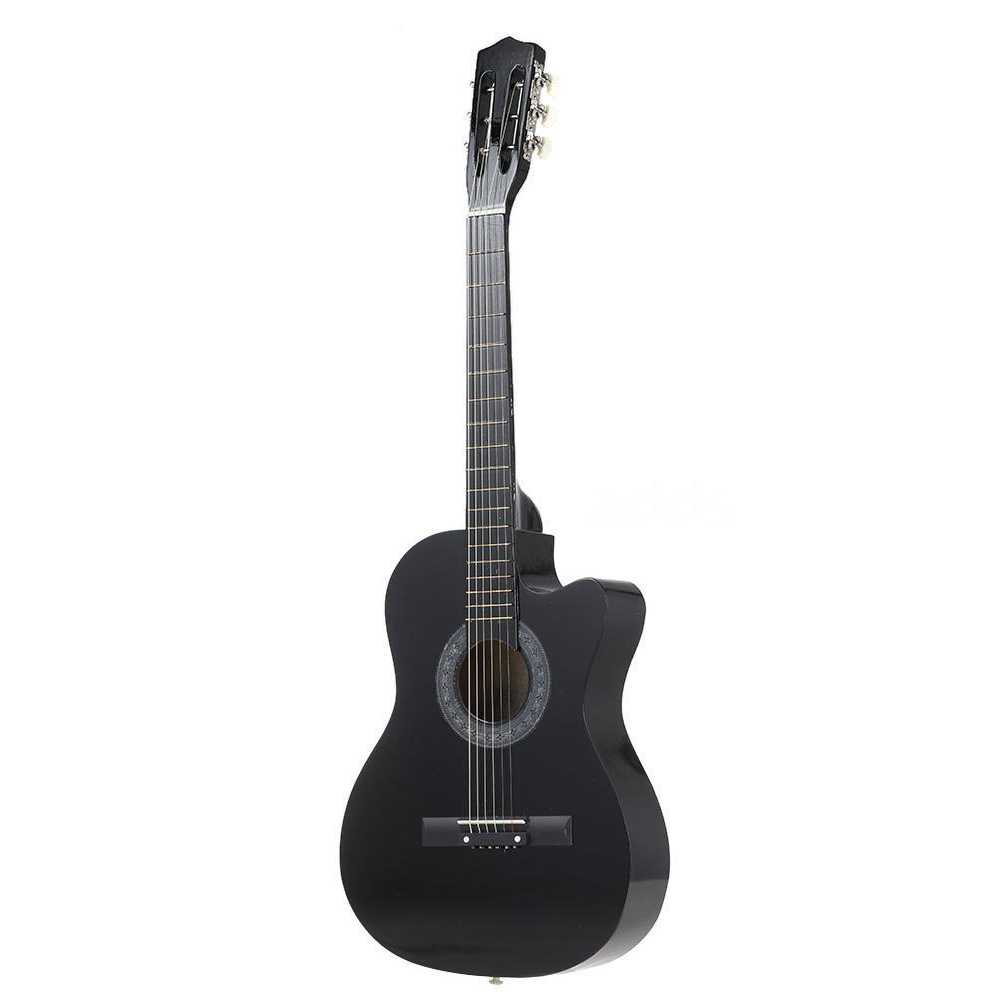 38 6 String Folk Acoustic Guitar for Beginners Music Lovers Students Gift Color:Black