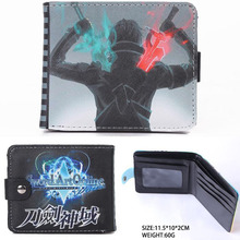 Anime Sword Art Online Synthetic Leather Short Exquisite Wallet/Kirito with Double Swords Button Purse