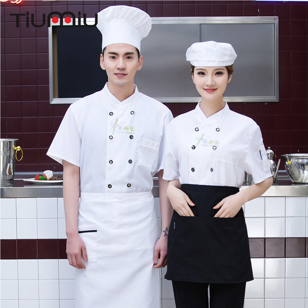 Unisex Short Sleeve Kitchen Work Uniforms Double Breasted Chinese Restaurant Spliced Summer Tops Food Service Cook Jacket Aprons