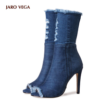 Hot sale Blue jeans boots 2017 summer shoes ankle boots for women boots blue denim boots high heels sexy peep-toe woman Stiletto