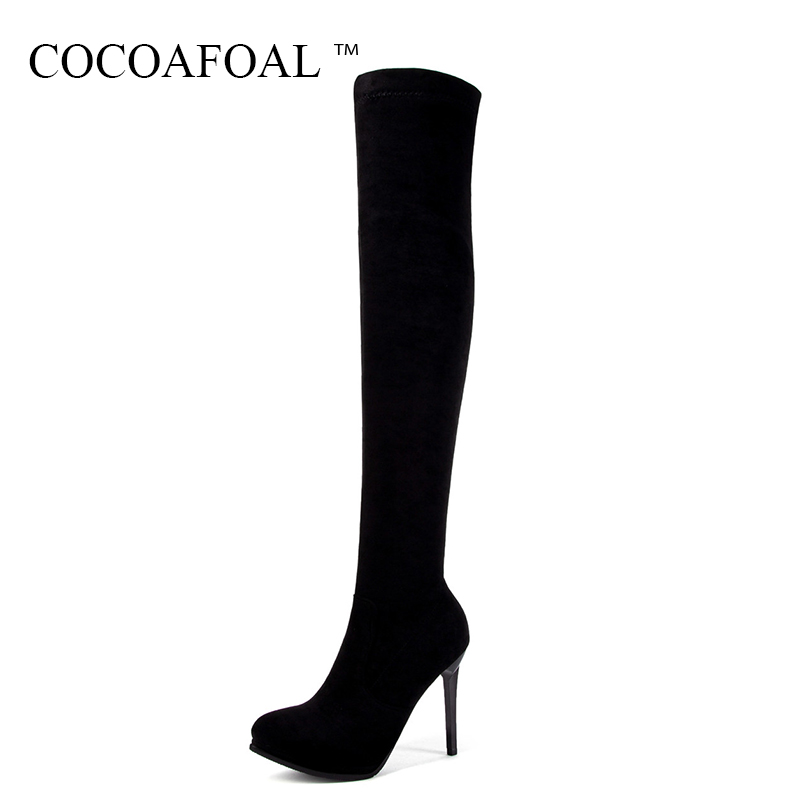 COCOAFOAL Winter Fashion Woman High Heeled Shoes Sexy Plus Size 33 43 Over The Knee Boots Pointed Toe Black Red Thigh High Boots cocoafoal woman green high heels shoes plus size 33 43 sexy stiletto red wedding shoes genuine leather pointed toe pumps 2018