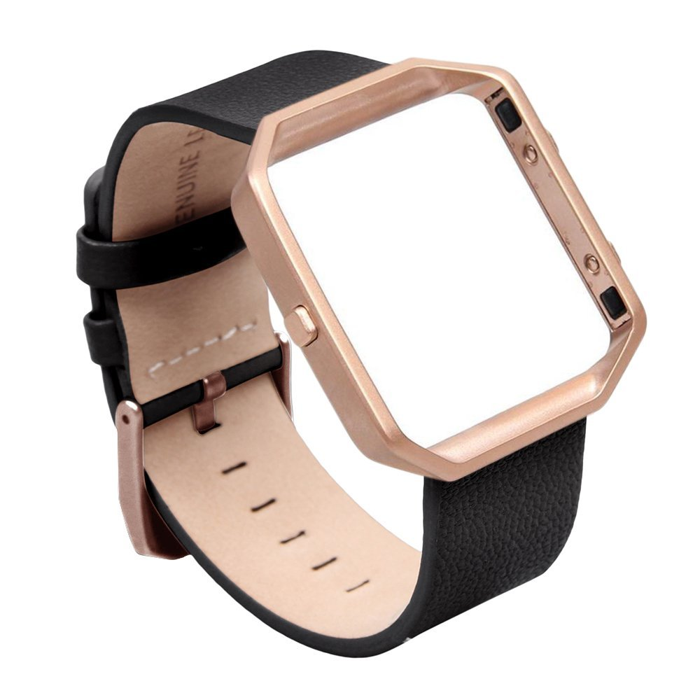 V-moro Newest Fashion Genuine Leather Camel Bracelet Watch Strap For Fitbit Blaze Strap With Metal Frame Band For Fitbit Blaze crested milanese loop strap metal frame for fitbit blaze stainless steel watch band magnetic lock bracelet wristwatch bracelet