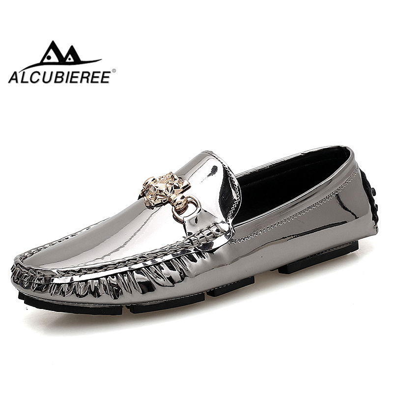 ALCUBIEREE Fashion Men Slip On Loafers Casual Patent Leather Driving Shoes Male Comfort Moccasins Dresses Shoes Big Size 47