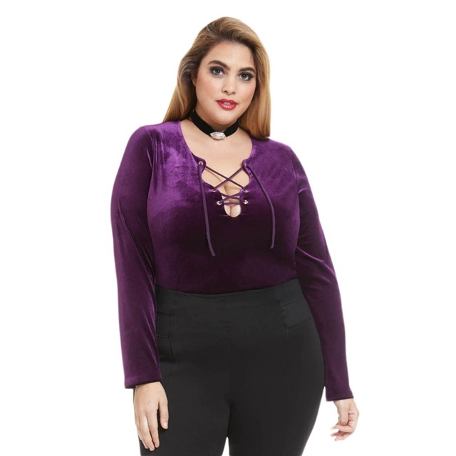 4851c804f42 Plus Size V Neck Tie Belt Long Sleeve T shirt Women Hollow Out Solid Purple  Tops
