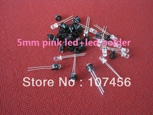 100pcs 5mm round led 5mm Ultra Bright Pink LED+Fast Shipping 5mm led pink+led holder 5mm light-emitting diode