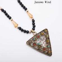 Janewu Wind retro style rhinestone flower Big Triangle Pendant Necklace women Black Beads long chain Mascot Necklace  (with box)