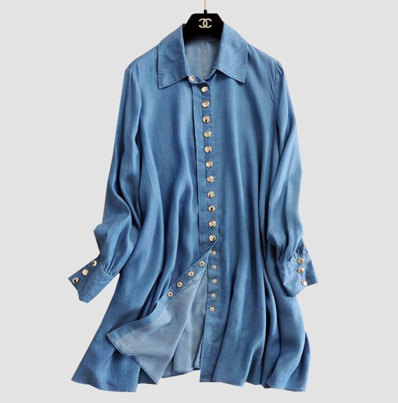 2016 Fashion font b Women b font Long Sleeve Loose Denim Mini Dress Casual Long font