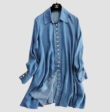 2016 Fashion Women Long Sleeve Loose Denim Mini Dress Casual Long Jean T Shirt For Women Dreess Free Shipping