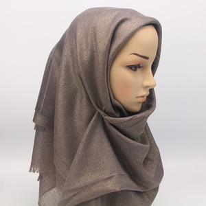 Модный мерцающий металлический шарф с кисточками, мусульманский головной убор, женские длинные шали с золотым люрексом из вискозы, исламск...