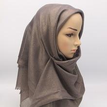 Fashionable Shimmer Fringe Metallic Scarf Muslim Headband Women Viscose Islamic Hijabs Turban Gold Lurex Long Shawls 200x90cm