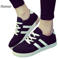 Manresar 2016 New Fashion Lace Up Women Zapatos Mujer Women Classic Canvas Casual Shoes Black And