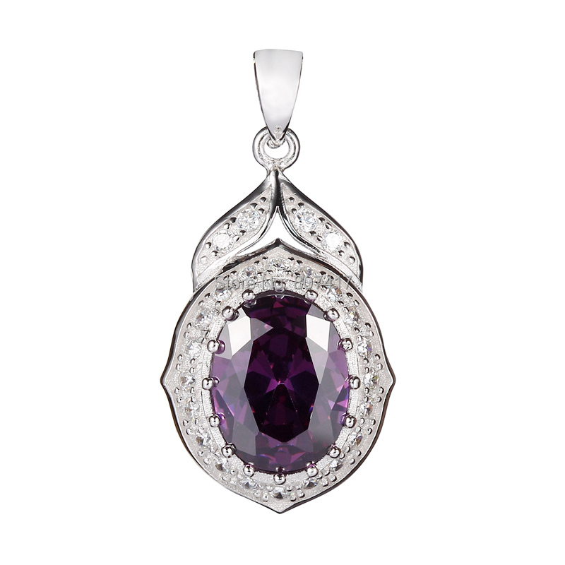 Amethyst Cubic Zirconia 925 sterling Silver Pendants Wholesale Beautiful S 3752 Promotion Best Sellers Time limited