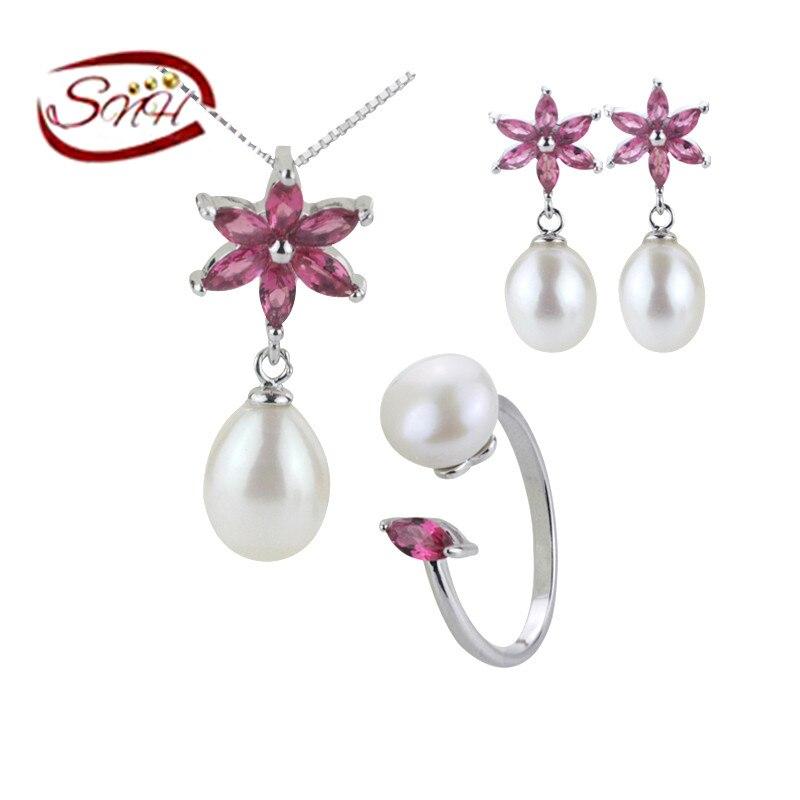 SNH 100% vera argento 925 autentica perla set di gioielli, set di - Gioielli