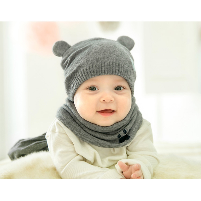 Baby Winter Caps Scarf Suits Warm Knitted Beanie Cap Cute Cartoon Bear Beanie QL Sale
