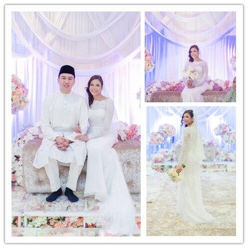 Luxury Muslim Arabic Wedding Dress With Sheer Long Sleeves High Neck Beading Arabic Bridal Islamic Wedding Gown Gelinlik MSL37