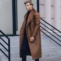 Итальянские зимние Бизнес Для мужчин колена длинный кожаный пиджак мужской двубортный офисные воротник с лацканами Теплый искусственного