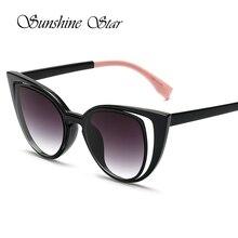 Pop era moda sexy cat eye sunglasses mujeres diseñador de la marca de lujo espejo recubrimiento gafas de sol mujer gafas de sol oculos