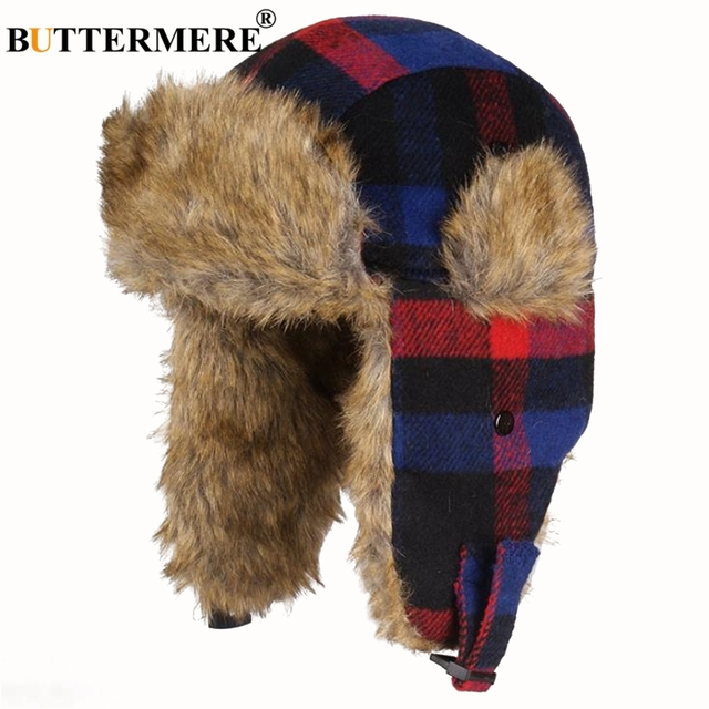 BUTTERMERE Russian Winter Hat Ushanka Women Men Outdoor Bomber Hats Plaid  Fur Warm Thick Snow Red fb8ddc413d8a