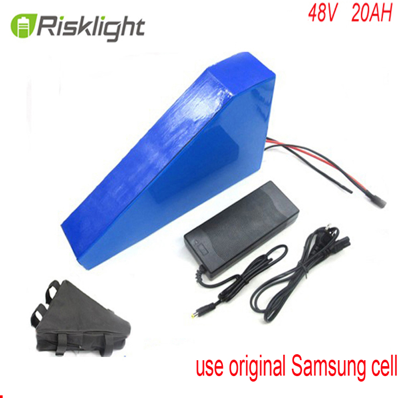 48V 20AH Triangle battery 1000W 48V Electric Bike battery 48V 20AH Lithium battery with bag + charger For Samsung cell rear rack 48v 1000w electric bike battery 48v 20ah electric bicycle battery 48v 20ah lithium ion battery power tail lights