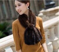 Women's Real Mink Fur Scarves Brown Warm Fashion Winter