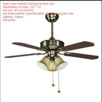 LED ceiling fans lamp brown color wood 3 light 4pcs of Blades 110 220V 42 Inch/108cm Pull switch