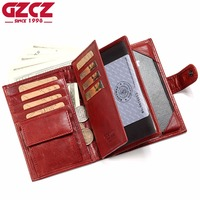 GZCZ Genuine Leather Women Wallet Female Passport Card Holder Walet Clamp For Money Coin Purse Clutch