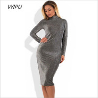 2018 New Plus Size Winter Women Dresses Sexy Bandage Bodycon Party Club Dress 5XL 6XL Long