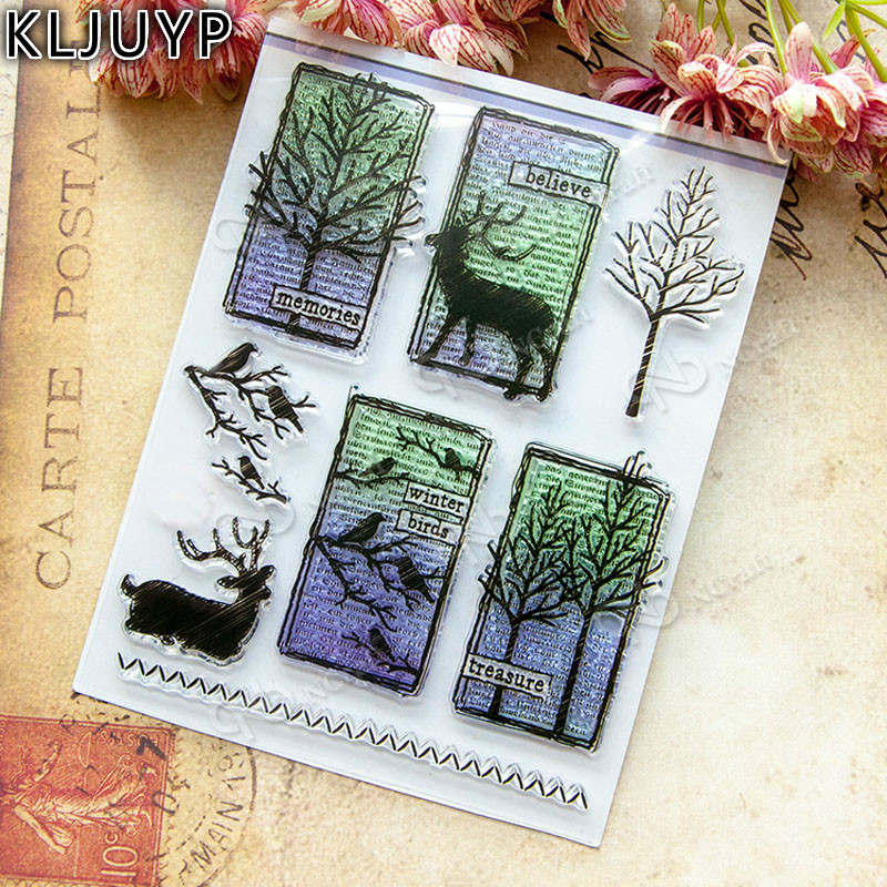 KLJUYP 1 sheet DIY Trees and Deers Transparent Design Transparent Clear Rubber Stamp Seal Paper Craft Scrapbooking Decoration abm sharif hossain and fusao mizutani dwarfing peach trees grafted on vigorous rootstocks
