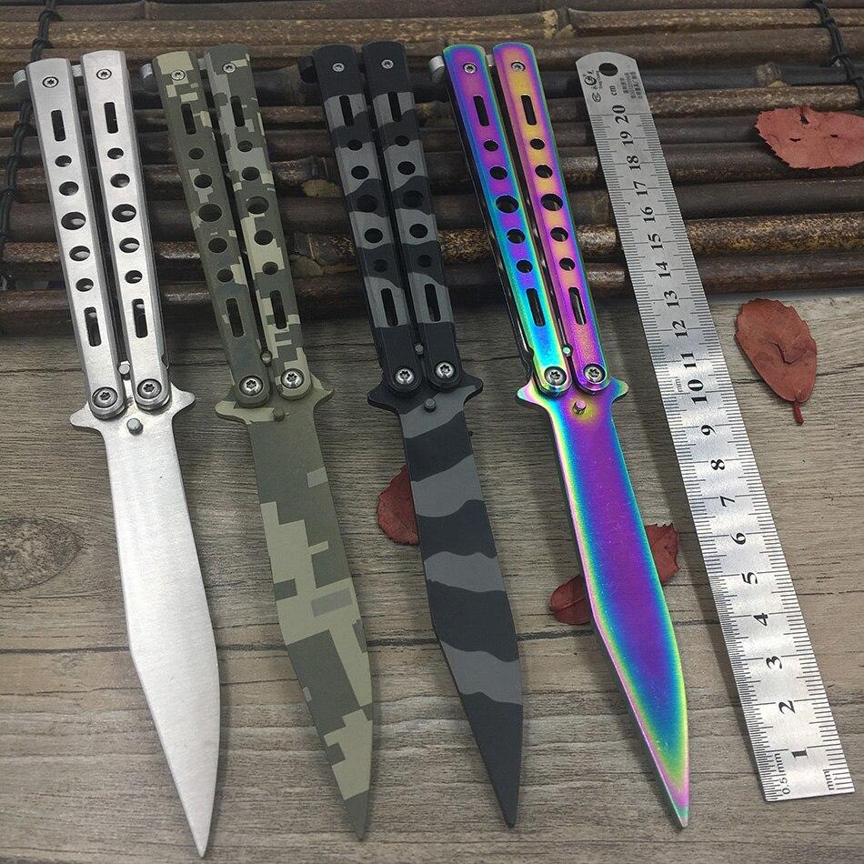 Titanio Arcobaleno colore 5Cr13Mov coltello In Acciaio Inox Farfalla Formazione Coltello a farfalla coltello gioco dull knife strumento no bordo