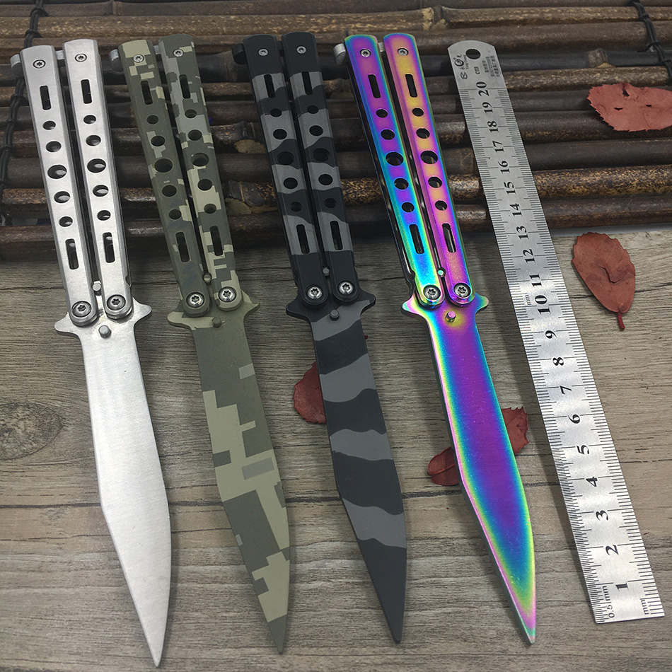 Titanium Rainbow color 5Cr13Mov cuchillo de acero inoxidable cuchillo formación mariposa cuchillo juego cuchillo aburrido herramienta Sin borde