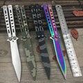 Titanium rainbow color 5cr13mov cuchillo de acero inoxidable cuchillo formación mariposa balisong cuchillo de la mariposa cuchillo herramienta aburrida sin borde