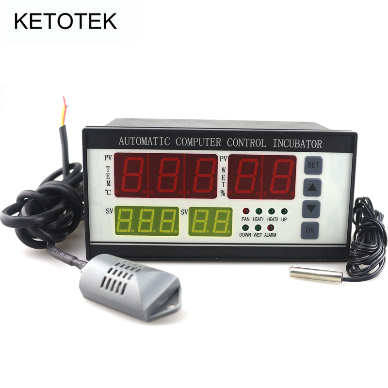 XM-18 Incubator Thermostat Hygrostat AC 180V ~ 240V 0 ~ 99.9 C Egg Incubator Temperature Humidity Controller with 2 Sensor digital tdk0302la humidity temperature controller 220v led display home egg incubator farming thermometer cn902 thermostat