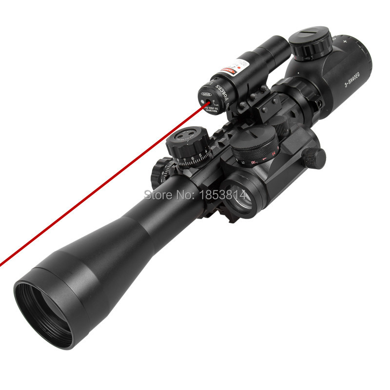 3-9X40EG Illuminated Hunting Red/Green Laser Riflescope with Holographic Dot Sight Combo Airsoft Gun Weapon Sight Airsoft 1set riflescope hunting optics rifle 3 9x40 illuminated red green laser riflescope w holographic dot sight airsoft weapon sight