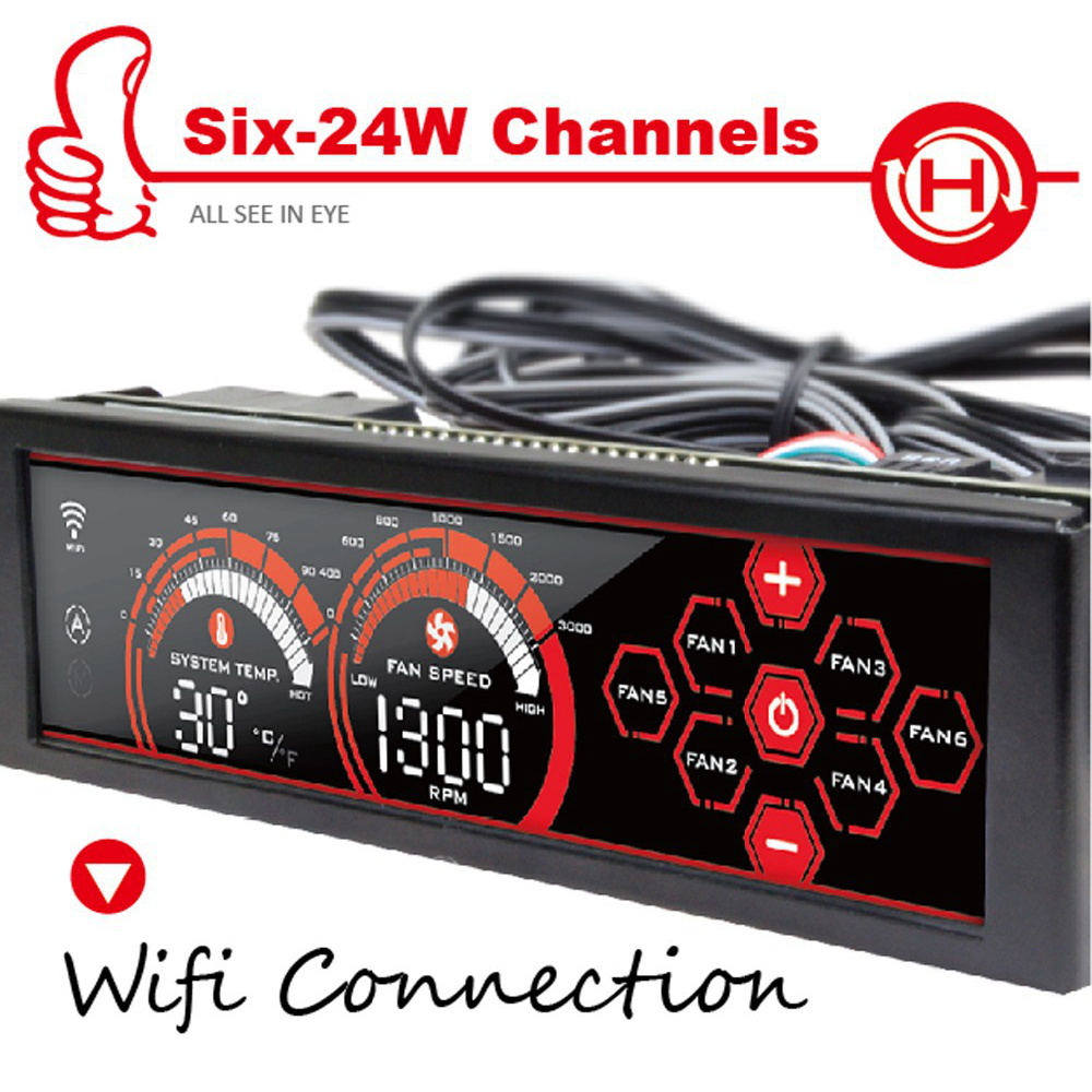 """Prix pour Alseye a-100h ordinateur ventilateur contrôleur wifi 6 canaux fan speed controller pour cpu refroidisseur/eau de refroidissement 5.25 """"lcd écran tactile"""