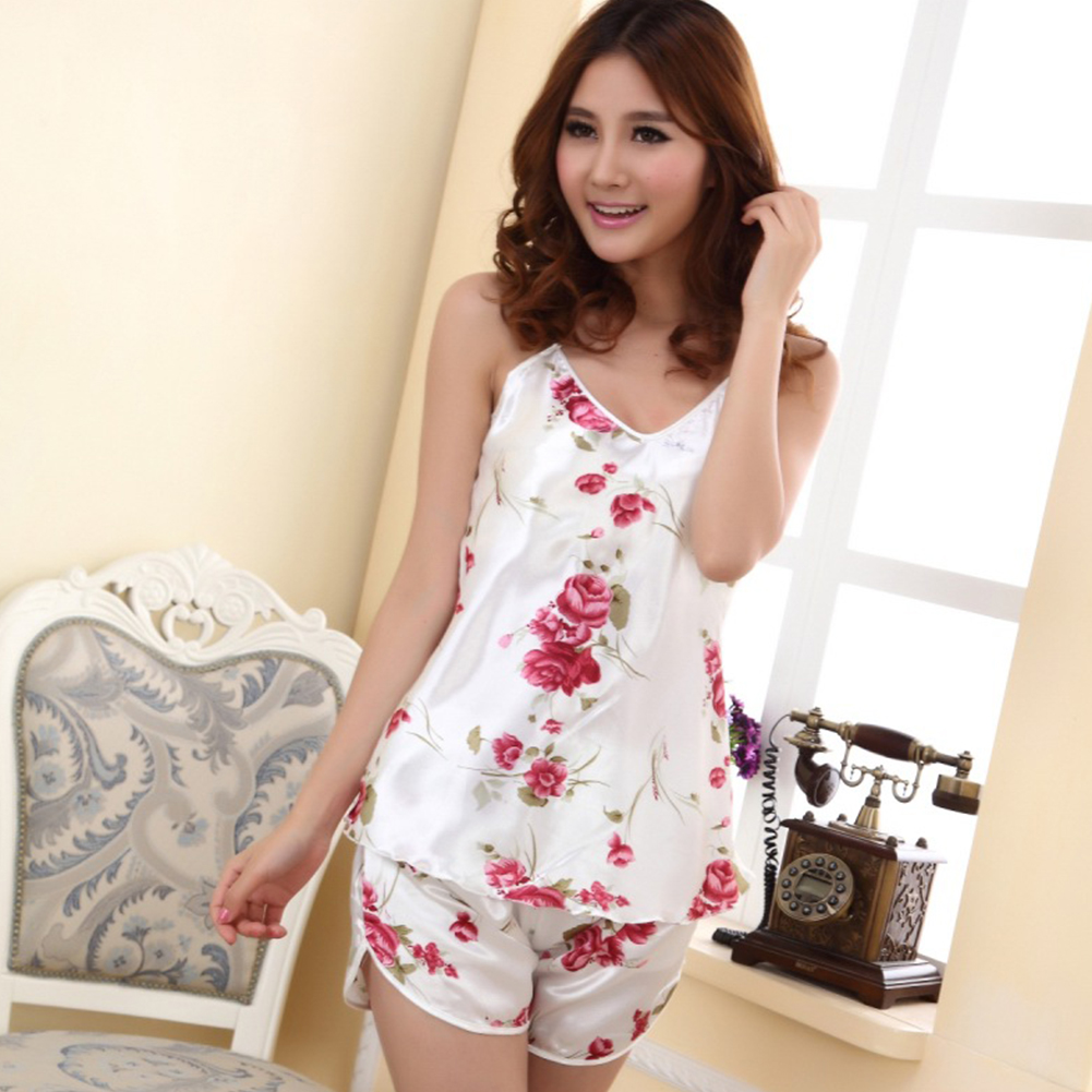 Sexy Lady Rose Flower Printing Nightwear 2-pieces   Pajamas     Sets   With Short Pants Women Suits soft ice silk Condole belt   pajamas