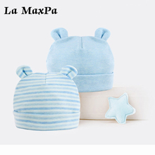 2pcs/Lot Stiped Solid baby hat Newborn Baby Autumn Winter Cotton Children Hat Beanie Cap Infant Accessories