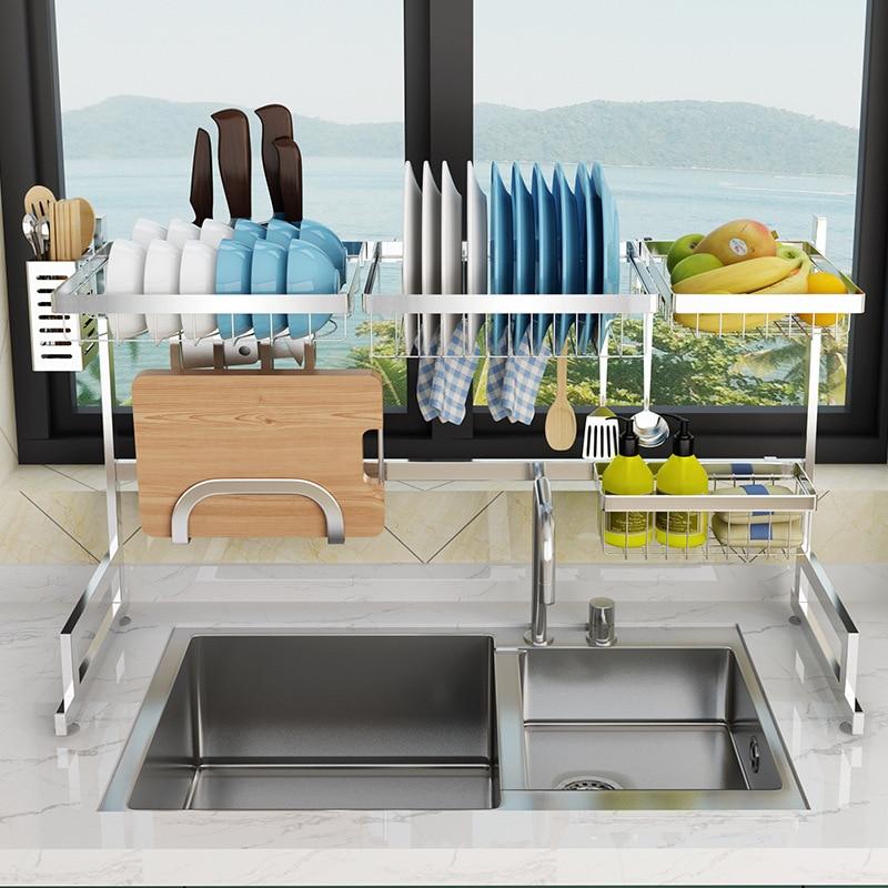 304 Stainless Steel Kitchen Dish Rack Kitchen Sink Drain Rack Storage Shelf Home Organizer Storage Holder For Dishes