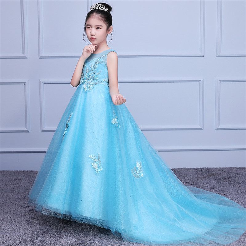 Enfants filles doux bleu couleur fleurs anniversaire soirée fête longue traînée robe modèle spectacle passerelle enfants bambin robe de Piano