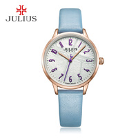 2018 Summer Top Fashion Brand Designer New Relojes Mujer Candy Color Japan Leather design Dial Quartz Watch Julius Montre JA 987