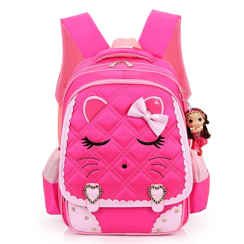 2017 New Cartoon Cat Girls School Bags Princess Pink Children Backpacks For Primary School Students Schoolbag Kids Satchels