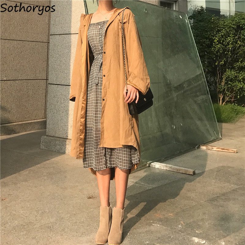 Trench   Women Long Thin Hooded Turn-down Collar Leisure Straight Single Breasted Solid All-match Coats Womens Korean Chic Elegant