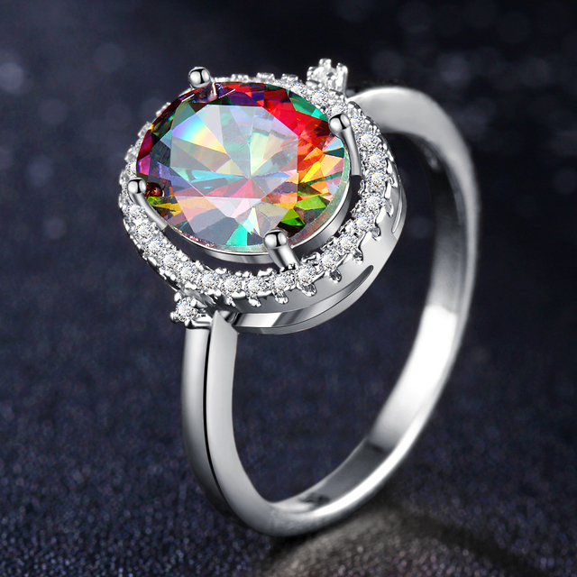 17KM Big Round Crystal Wedding Engagement Rings For Women Female Fashion Rose Gold Silver Color Ring Statement Charm Jewelry New